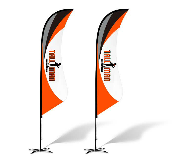 bowed feather flag custom printed