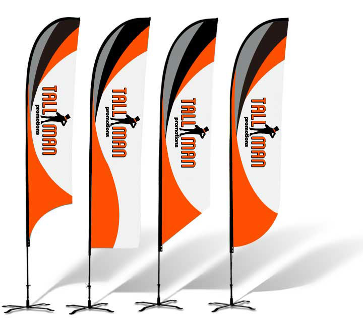 Tall man Promotions feather flags custom